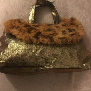 Gold bag with leopard print trimming